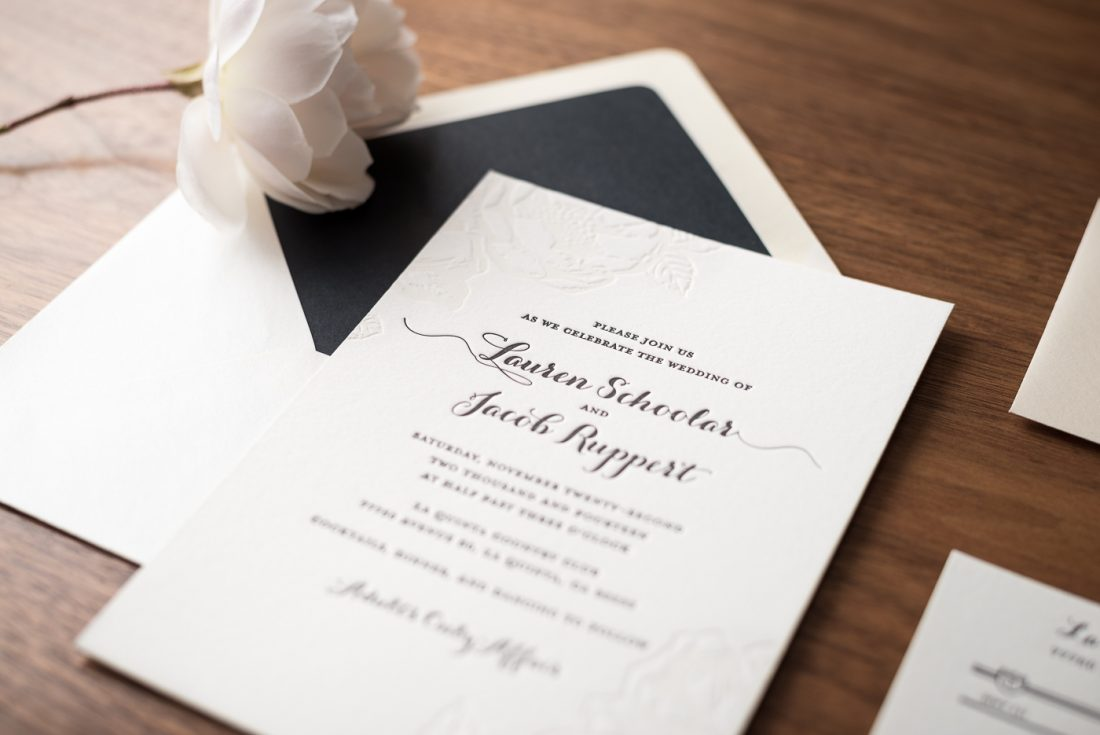 Classic Floral Letterpress Wedding Invitation • Noteworthy Letterpress