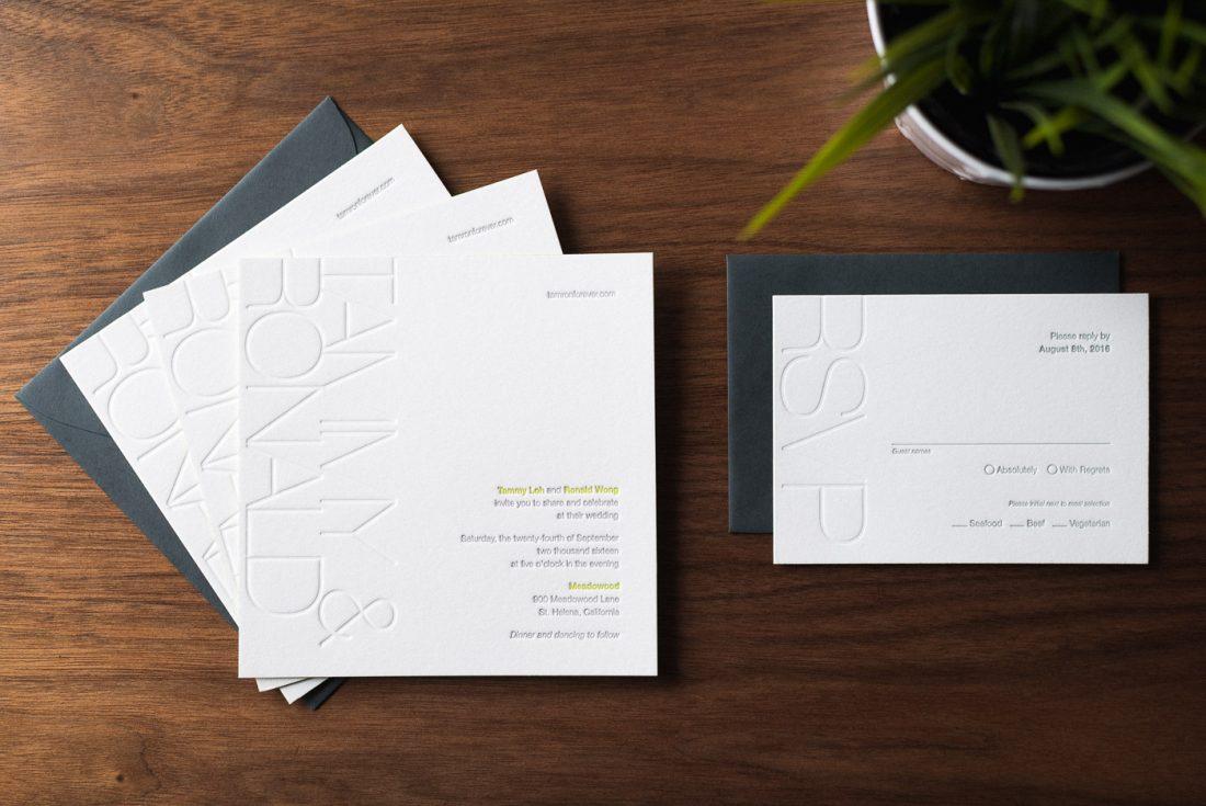 Modern Blind Emboss Wedding Invitation